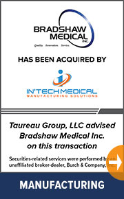 Taureau Group advised  Bradshaw Medical Inc. on a new transaction